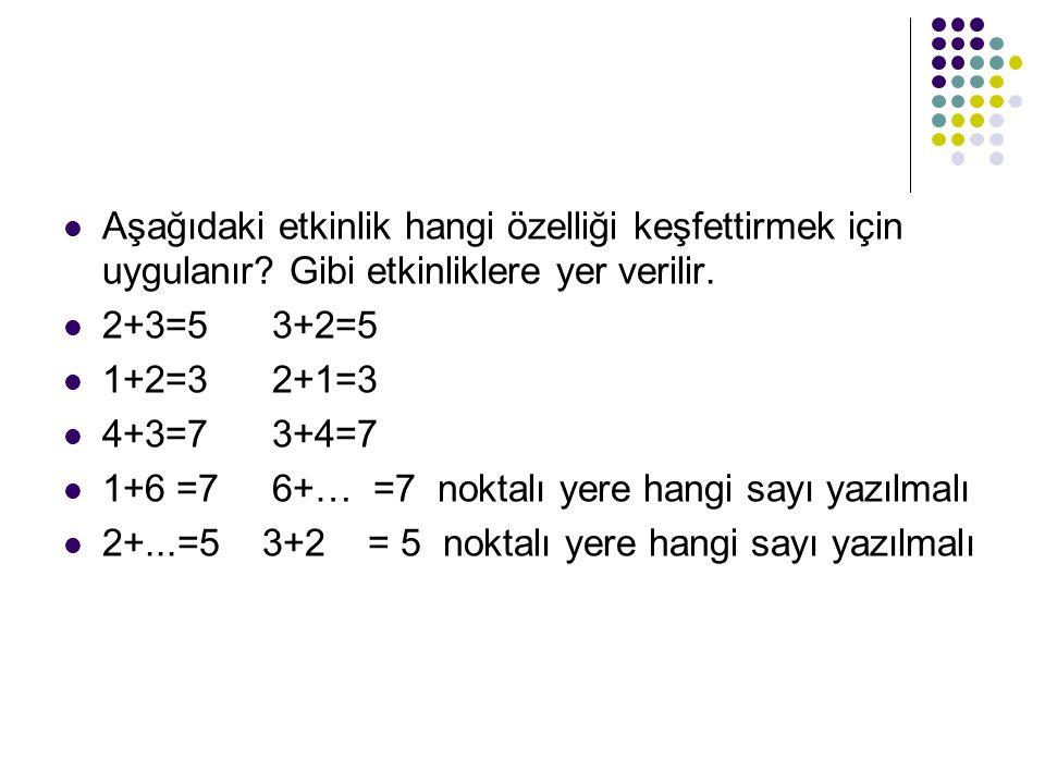 Aşağıdaki etkinlik hangi özelliği keşfettirmek için uygulanır? Gibi etkinliklere yer verilir. 2+3=53+2=5 1+2=32+1=3 4+3=73+4=7 1+6 =76+… =7 noktalı ye