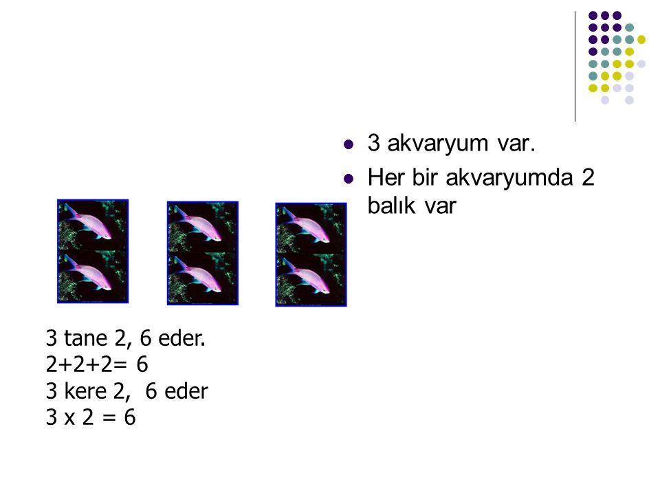 3 akvaryum var. Her bir akvaryumda 2 balık var 3 tane 2, 6 eder. 2+2+2= 6 3 kere 2, 6 eder 3 x 2 = 6