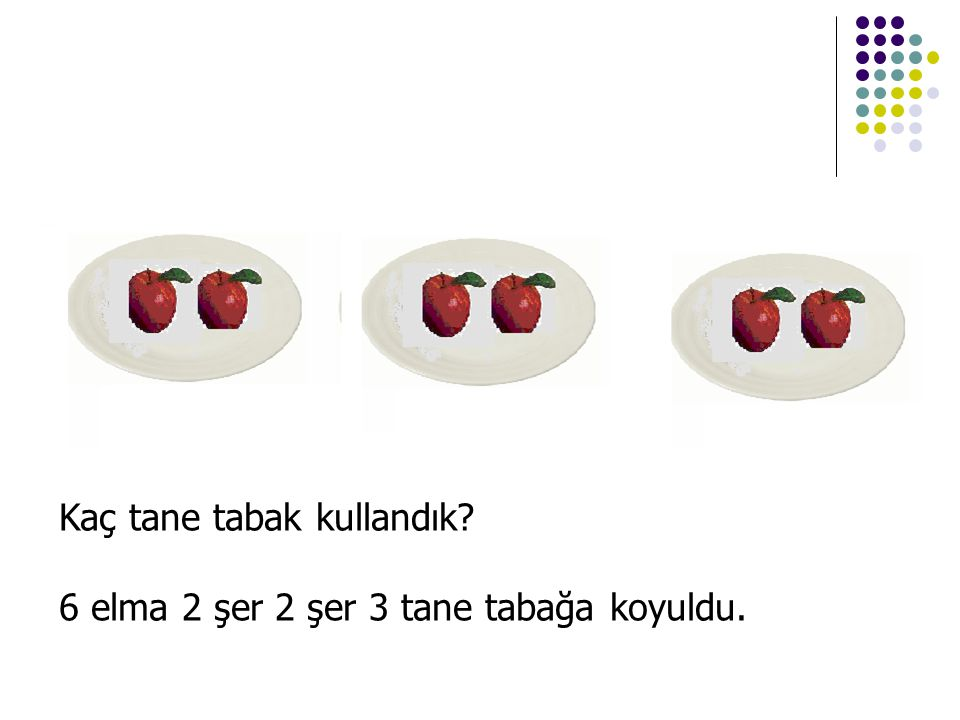 Kaç tane tabak kullandık? 6 elma 2 şer 2 şer 3 tane tabağa koyuldu.