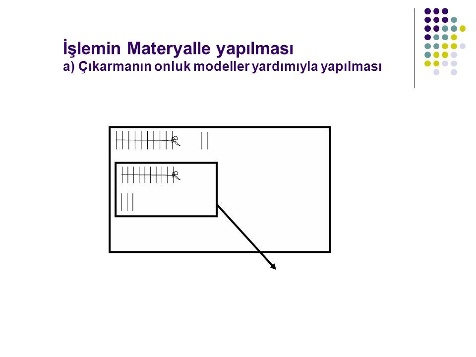 İşlemin Materyalle yapılması a) Çıkarmanın onluk modeller yardımıyla yapılması