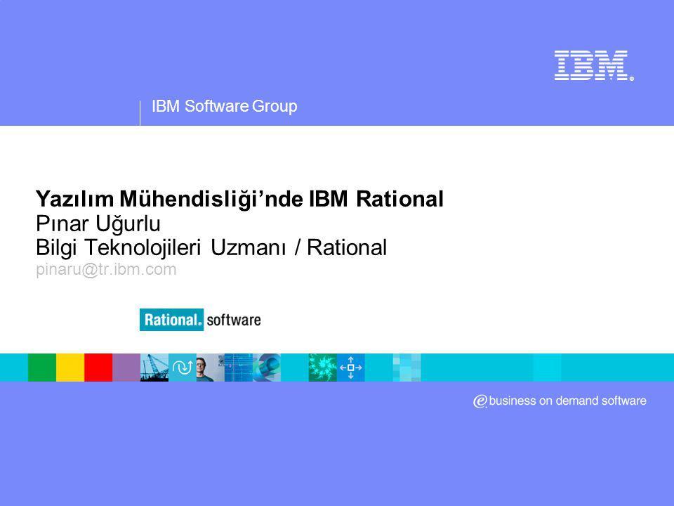 IBM Software Group   Rational software Yazılım Analisti – Zorluk Noktaları  Geliştiriciler müşteri isteklerini karşılayamıyorlar – kendi düşündüklerini yapıyorlar  Gereksinimler içinde kayboldum – isterdimki daha mantıksal bir düzeyden bakabileyim ve gereksinimleri yönetebileyim  Tüm düzenleyici kısıtları anlamak ve uymak zorundayız  Heryerden değişiklik istekleri yağıyor nasıl önceliklendireceğim Ne yapılacak.