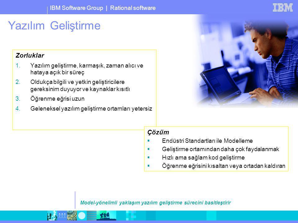 IBM Software Group | Rational software Yazılım Geliştirme Zorluklar 1.Yazılım geliştirme, karmaşık, zaman alıcı ve hataya açık bir süreç 2.Oldukça bil
