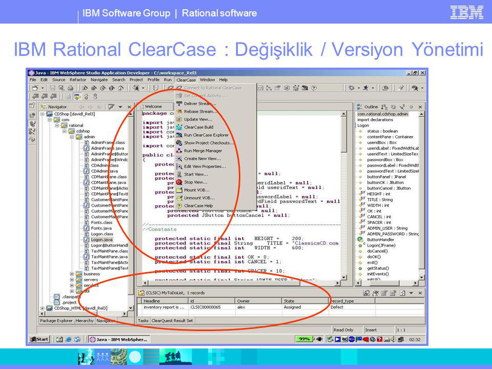 IBM Software Group | Rational software IBM Rational ClearCase : Değişiklik / Versiyon Yönetimi