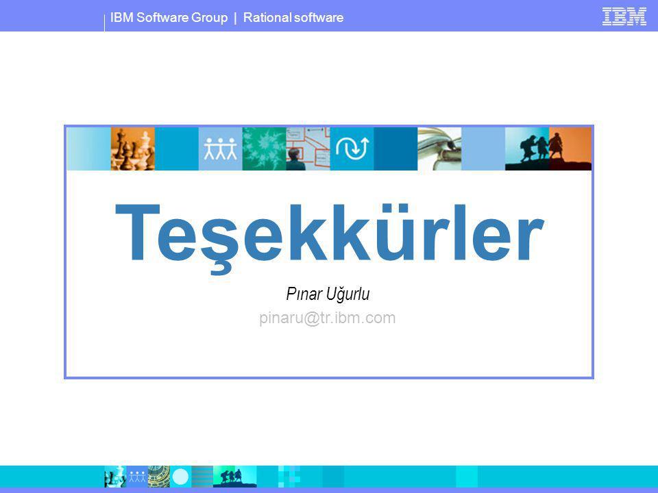 IBM Software Group | Rational software Pınar Uğurlu pinaru@tr.ibm.com Teşekkürler