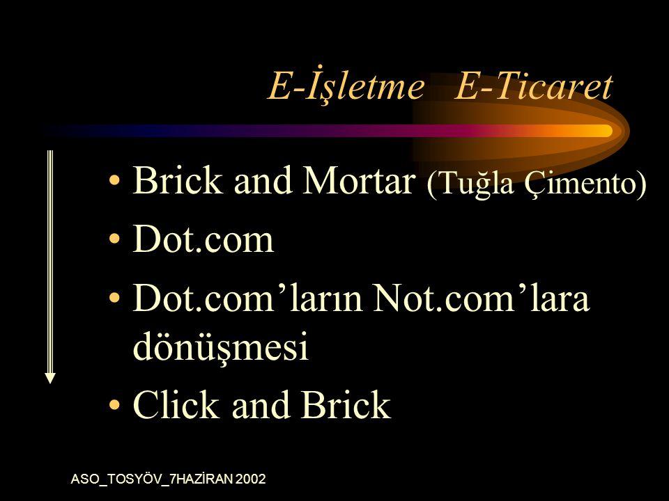ASO_TOSYÖV_7HAZİRAN 2002 E-İşletme E-Ticaret Brick and Mortar (Tuğla Çimento) Dot.com Dot.com'ların Not.com'lara dönüşmesi Click and Brick