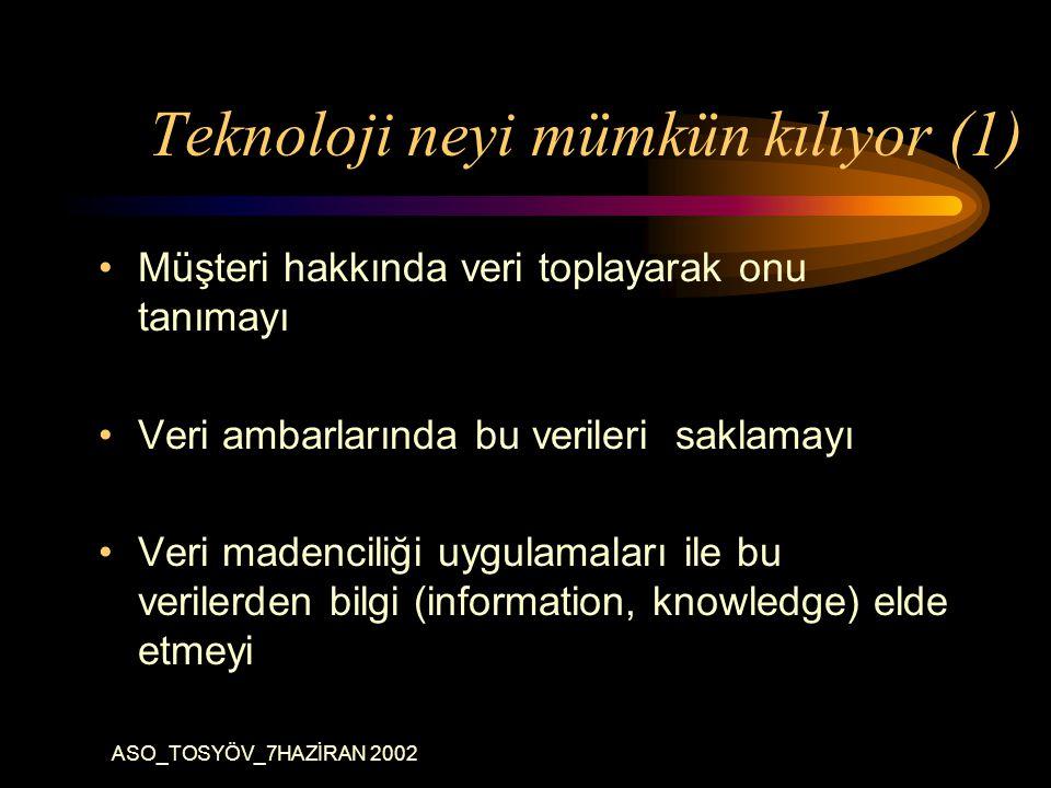 ASO_TOSYÖV_7HAZİRAN 2002 Teknoloji neyi mümkün kılıyor (1) Müşteri hakkında veri toplayarak onu tanımayı Veri ambarlarında bu verileri saklamayı Veri madenciliği uygulamaları ile bu verilerden bilgi (information, knowledge) elde etmeyi