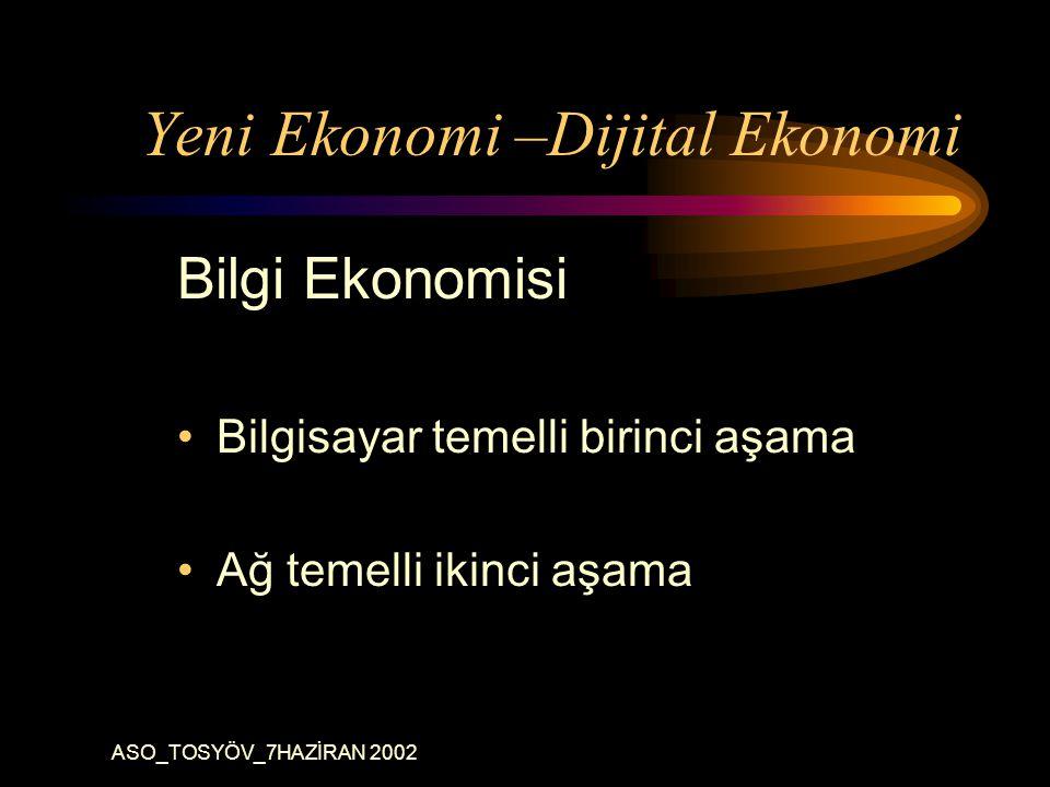 ASO_TOSYÖV_7HAZİRAN 2002 Yeni Ekonomi –Dijital Ekonomi Bilgi Ekonomisi Bilgisayar temelli birinci aşama Ağ temelli ikinci aşama