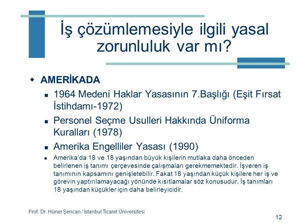 Prof. Dr. Hüner Şencan / İstanbul Ticaret Üniversitesi İş çözümlemesiyle ilgili yasal zorunluluk var mı?  TÜRKİYEDE  İş kanununda zimnen ifade edilm