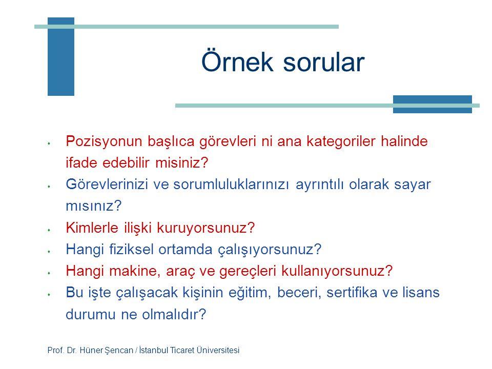 Prof. Dr. Hüner Şencan / İstanbul Ticaret Üniversitesi Yaygın kullanılan teknik: Mülakat  Her bir işgörenle tek tek görüşme yapılır  Aynı işi yapan