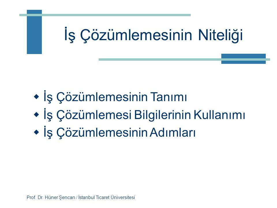Prof. Dr. Hüner Şencan / İstanbul Ticaret Üniversitesi Dersin öğrenme çıktıları  İş çözümlemesinin niteliğini, ne olduğunu ve nasıl kullanıldığını ta