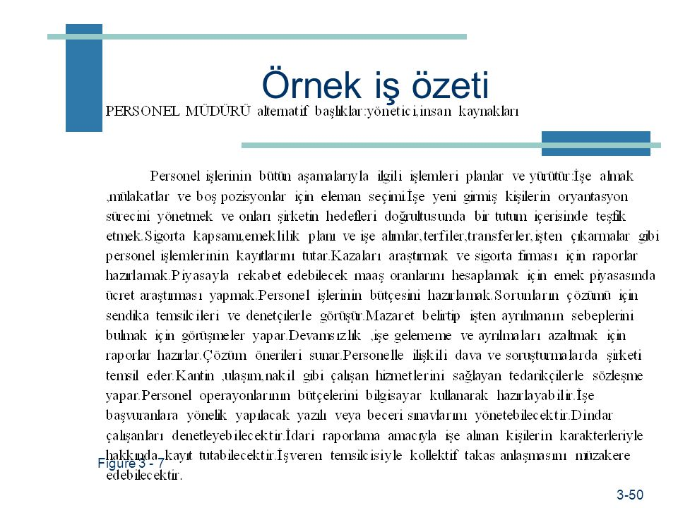 Prof. Dr. Hüner Şencan / İstanbul Ticaret Üniversitesi İş tanımlarının yazımı 1.İşin kimliği 2.İş özeti 3.İlişkiler 4.Görev ve sorumluluklar 5.Başarı