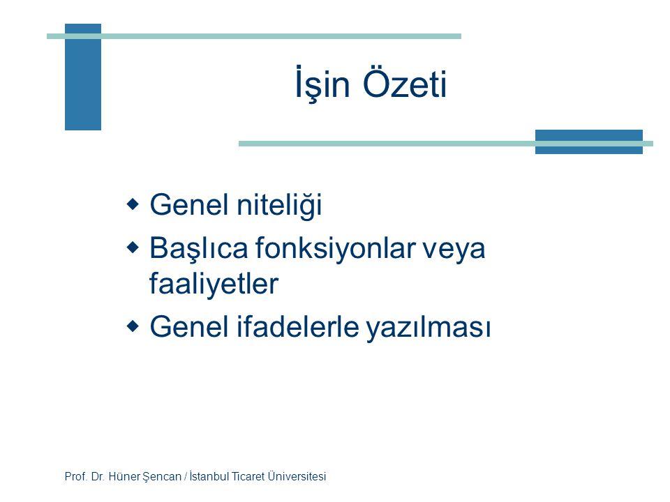 Prof. Dr. Hüner Şencan / İstanbul Ticaret Üniversitesi İşin Kimliği  Unvan  Tarih  Onay  İlk amirin unvanı  Ücret grubu  Derecesi