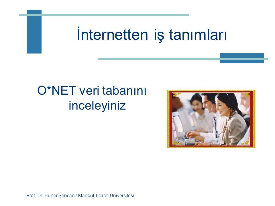 Prof. Dr. Hüner Şencan / İstanbul Ticaret Üniversitesi İş Tanımları İnternet ortamından örnek bir iş tanımları bulunuz. Ne gibi eksiklikler buldunuz?