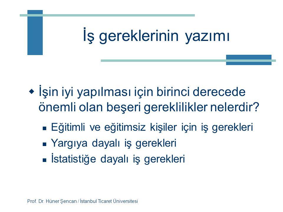 Prof. Dr. Hüner Şencan / İstanbul Ticaret Üniversitesi İnternetten iş tanımları O*NET veri tabanını inceleyiniz