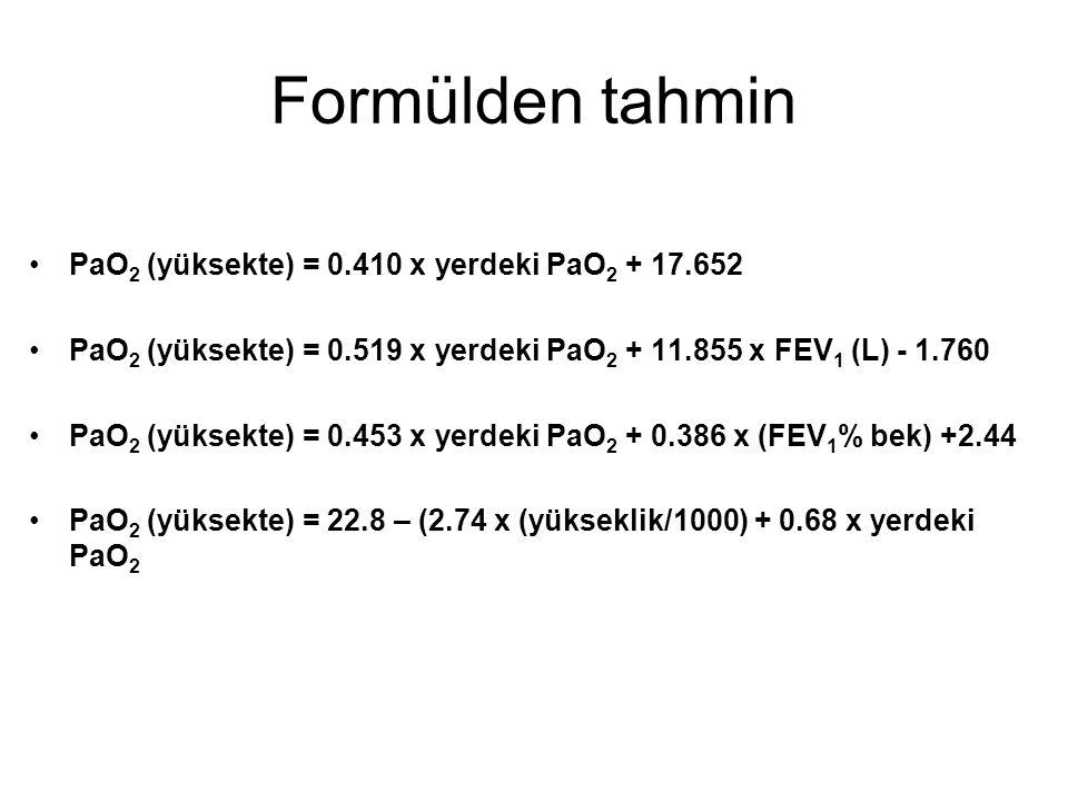 Formülden tahmin PaO 2 (yüksekte) = 0.410 x yerdeki PaO 2 + 17.652 PaO 2 (yüksekte) = 0.519 x yerdeki PaO 2 + 11.855 x FEV 1 (L) - 1.760 PaO 2 (yüksekte) = 0.453 x yerdeki PaO 2 + 0.386 x (FEV 1 % bek) +2.44 PaO 2 (yüksekte) = 22.8 – (2.74 x (yükseklik/1000) + 0.68 x yerdeki PaO 2