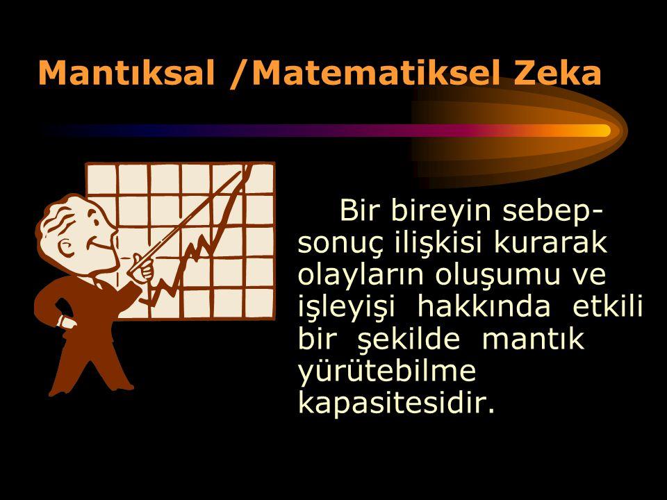 Mantıksal /Matematiksel Zeka Bir bireyin sebep- sonuç ilişkisi kurarak olayların oluşumu ve işleyişi hakkında etkili bir şekilde mantık yürütebilme ka