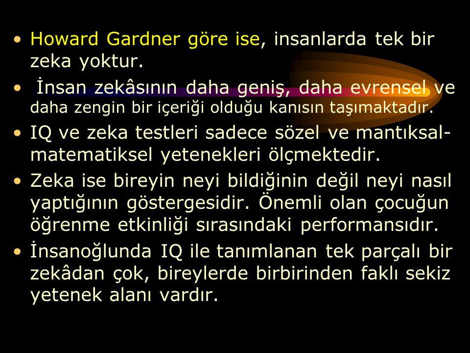 Howard Gardner göre ise, insanlarda tek bir zeka yoktur. İnsan zekâsının daha geniş, daha evrensel ve daha zengin bir içeriği olduğu kanısın taşımakta