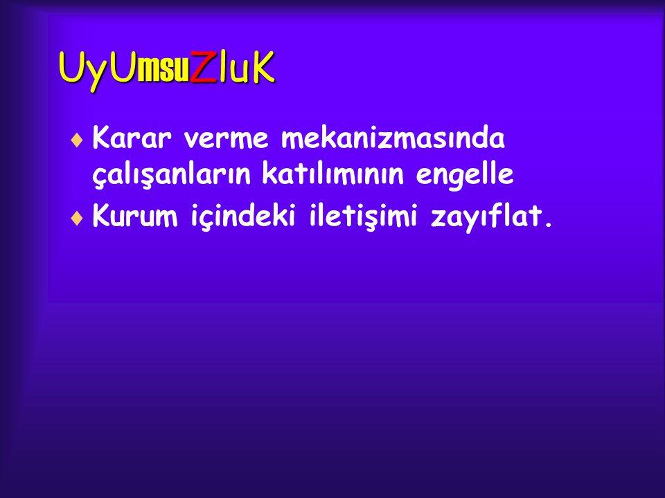 UyU msu ZluK  Karar verme mekanizmasında çalışanların katılımının engelle  Kurum içindeki iletişimi zayıflat.