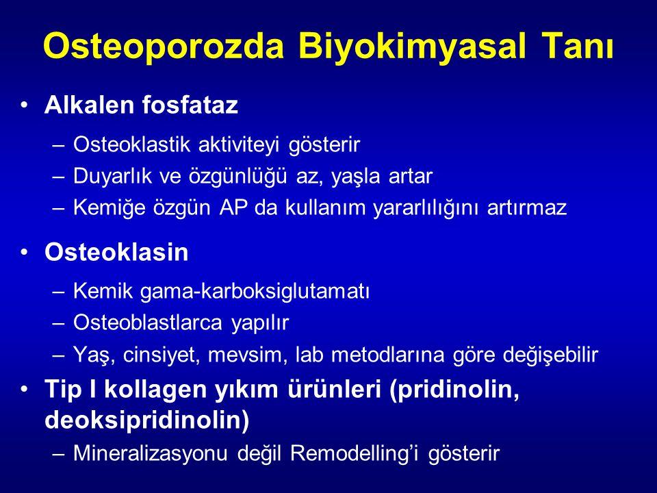 Osteoporozda Biyokimyasal Tanı Alkalen fosfataz –Osteoklastik aktiviteyi gösterir –Duyarlık ve özgünlüğü az, yaşla artar –Kemiğe özgün AP da kullanım yararlılığını artırmaz Osteoklasin –Kemik gama-karboksiglutamatı –Osteoblastlarca yapılır –Yaş, cinsiyet, mevsim, lab metodlarına göre değişebilir Tip I kollagen yıkım ürünleri (pridinolin, deoksipridinolin) –Mineralizasyonu değil Remodelling'i gösterir