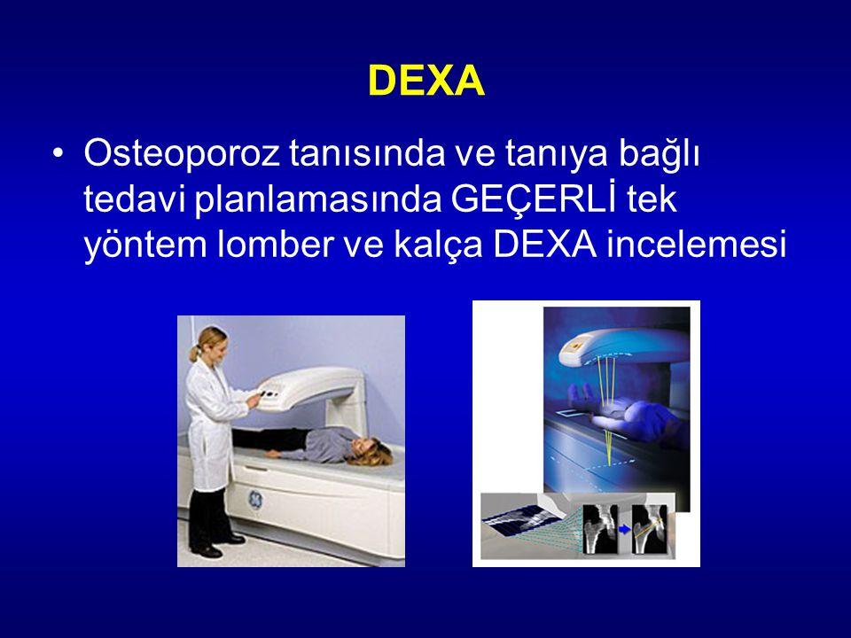 DEXA Osteoporoz tanısında ve tanıya bağlı tedavi planlamasında GEÇERLİ tek yöntem lomber ve kalça DEXA incelemesi