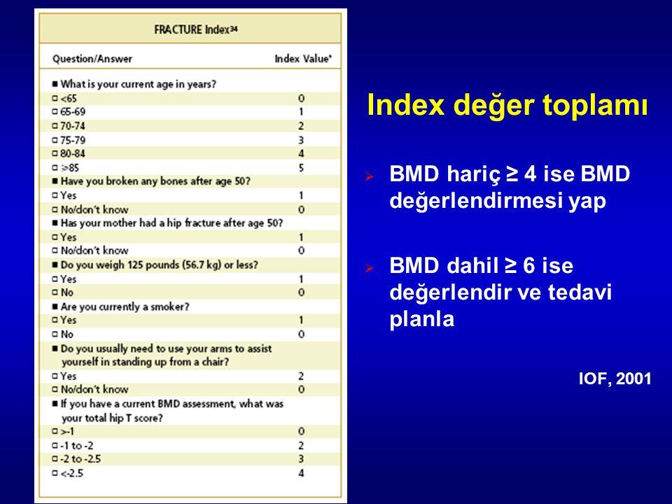 Index değer toplamı  BMD hariç ≥ 4 ise BMD değerlendirmesi yap  BMD dahil ≥ 6 ise değerlendir ve tedavi planla IOF, 2001
