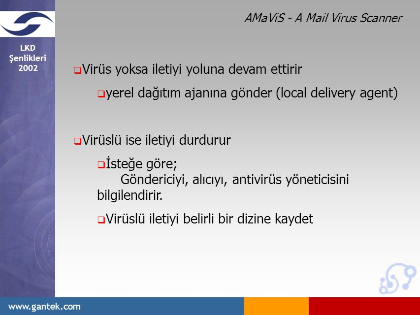 LKD Şenlikleri 2002 www.gantek.com  Virüs yoksa iletiyi yoluna devam ettirir  yerel dağıtım ajanına gönder (local delivery agent)  Virüslü ise iletiyi durdurur  İsteğe göre; Göndericiyi, alıcıyı, antivirüs yöneticisini bilgilendirir.