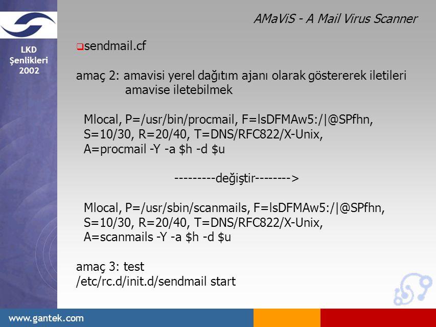 LKD Şenlikleri 2002 www.gantek.com  sendmail.cf amaç 2: amavisi yerel dağıtım ajanı olarak göstererek iletileri amavise iletebilmek Mlocal, P=/usr/bin/procmail, F=lsDFMAw5:/|@SPfhn, S=10/30, R=20/40, T=DNS/RFC822/X-Unix, A=procmail -Y -a $h -d $u ---------değiştir--------> Mlocal, P=/usr/sbin/scanmails, F=lsDFMAw5:/|@SPfhn, S=10/30, R=20/40, T=DNS/RFC822/X-Unix, A=scanmails -Y -a $h -d $u amaç 3: test /etc/rc.d/init.d/sendmail start AMaViS - A Mail Virus Scanner