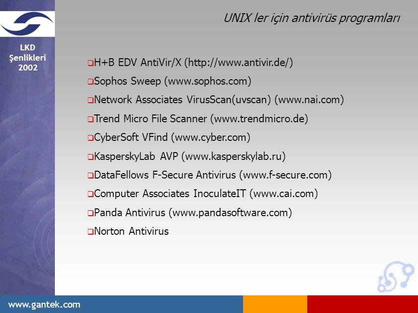 LKD Şenlikleri 2002 www.gantek.com  H+B EDV AntiVir/X (http://www.antivir.de/)  Sophos Sweep (www.sophos.com)  Network Associates VirusScan(uvscan) (www.nai.com)  Trend Micro File Scanner (www.trendmicro.de)  CyberSoft VFind (www.cyber.com)  KasperskyLab AVP (www.kasperskylab.ru)  DataFellows F-Secure Antivirus (www.f-secure.com)  Computer Associates InoculateIT (www.cai.com)  Panda Antivirus (www.pandasoftware.com)  Norton Antivirus UNIX ler için antivirüs programları