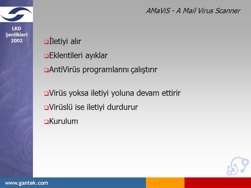 LKD Şenlikleri 2002 www.gantek.com  İletiyi alır  Eklentileri ayıklar  AntiVirüs programlarını çalıştırır  Virüs yoksa iletiyi yoluna devam ettirir  Virüslü ise iletiyi durdurur  Kurulum AMaViS - A Mail Virus Scanner