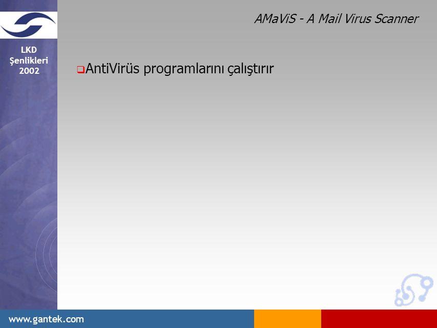 LKD Şenlikleri 2002 www.gantek.com  AntiVirüs programlarını çalıştırır AMaViS - A Mail Virus Scanner