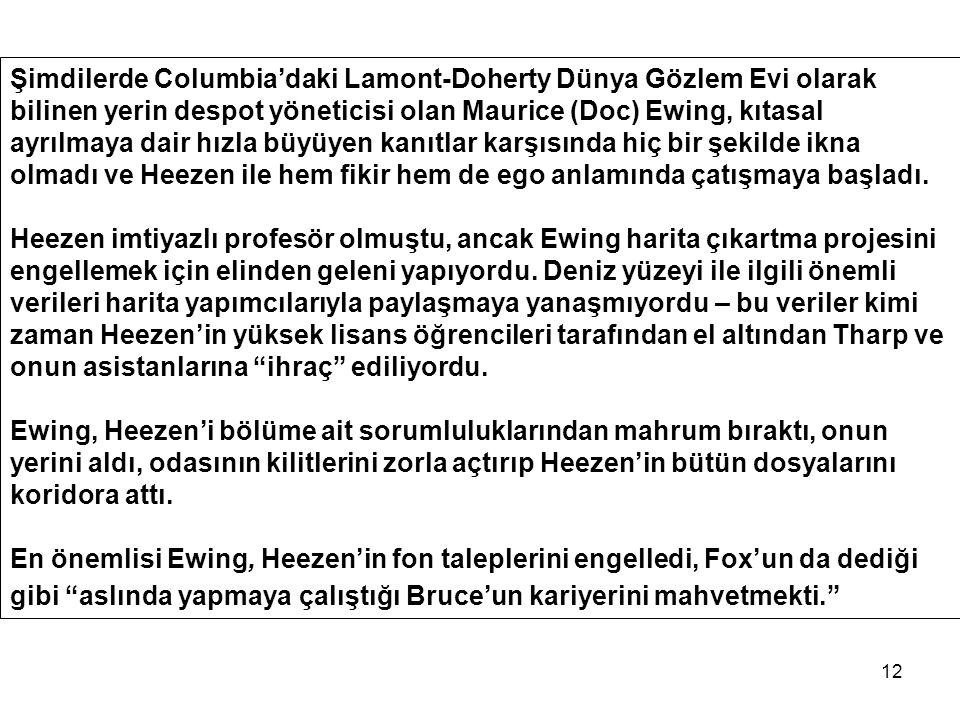 12 Şimdilerde Columbia'daki Lamont-Doherty Dünya Gözlem Evi olarak bilinen yerin despot yöneticisi olan Maurice (Doc) Ewing, kıtasal ayrılmaya dair hızla büyüyen kanıtlar karşısında hiç bir şekilde ikna olmadı ve Heezen ile hem fikir hem de ego anlamında çatışmaya başladı.
