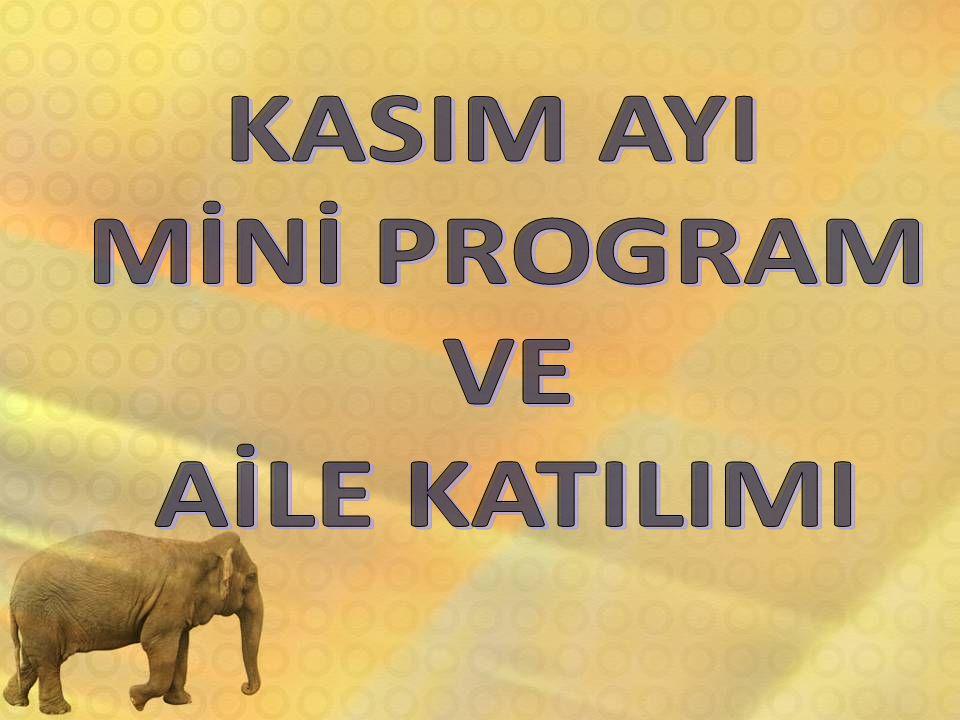 İSTEK ÖZEL BİLGE KAĞAN ANAOKULU KASIM AYI MİNİ PROGRAMI 2011–2012 6 YAŞ 7–9 KASIM KURBAN BAYRAMI TATİLİ (1.DÖNEM ARA TATİL) BAYRAMINIZ KUTLU OLSUN İYİ TATİLLER 10 Saat 09:05'te ATAMIZI anıyoruz ve Atatürk Büstü'ne çiçekler bırakıyoruz.