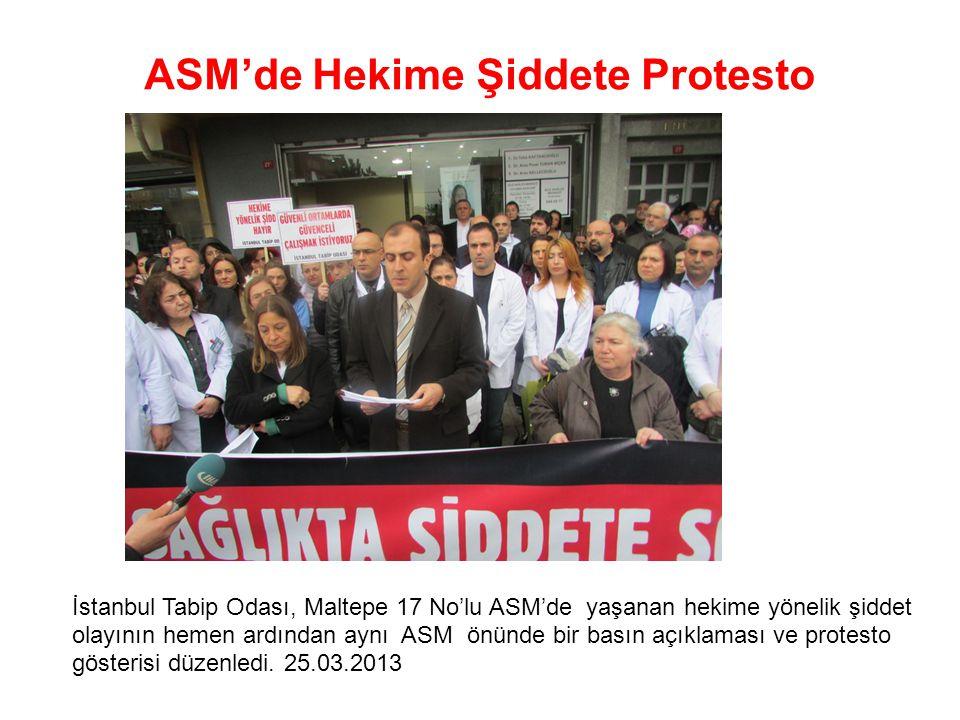 ASM'de Hekime Şiddete Protesto İstanbul Tabip Odası, Maltepe 17 No'lu ASM'de yaşanan hekime yönelik şiddet olayının hemen ardından aynı ASM önünde bir basın açıklaması ve protesto gösterisi düzenledi.