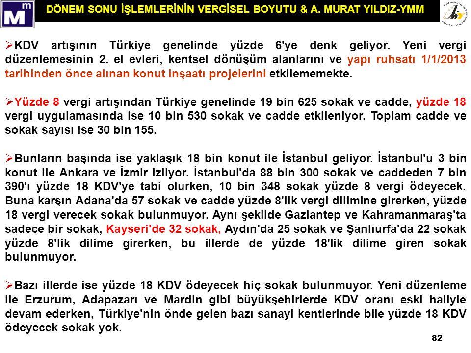 DÖNEM SONU İŞLEMLERİNİN VERGİSEL BOYUTU & A. MURAT YILDIZ-YMM 82  KDV artışının Türkiye genelinde yüzde 6'ye denk geliyor. Yeni vergi düzenlemesinin