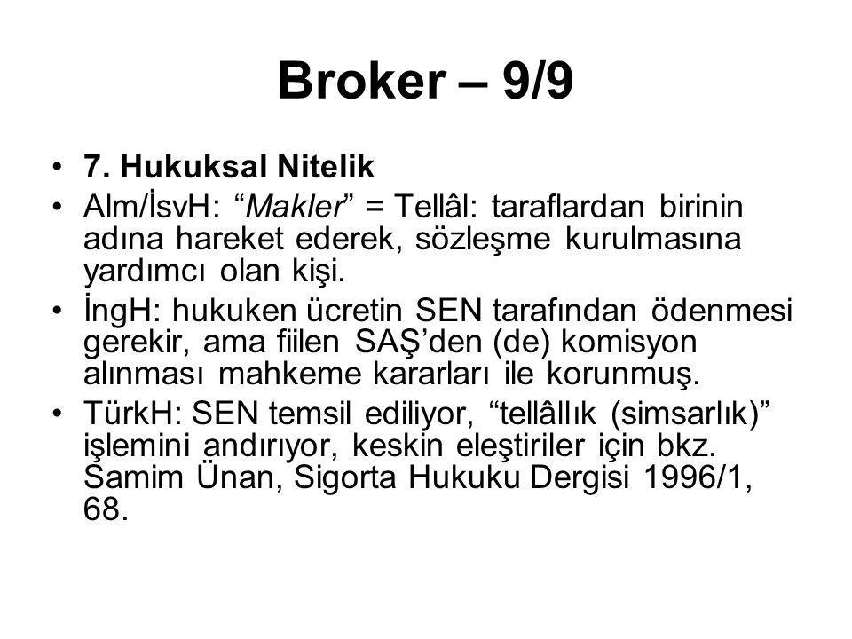 """Broker – 9/9 7. Hukuksal Nitelik Alm/İsvH: """"Makler"""" = Tellâl: taraflardan birinin adına hareket ederek, sözleşme kurulmasına yardımcı olan kişi. İngH:"""