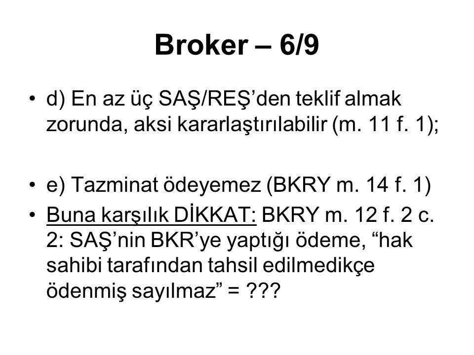 Broker – 6/9 d) En az üç SAŞ/REŞ'den teklif almak zorunda, aksi kararlaştırılabilir (m. 11 f. 1); e) Tazminat ödeyemez (BKRY m. 14 f. 1) Buna karşılık