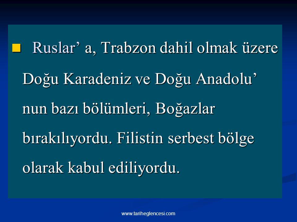 Ruslar' a, Trabzon dahil olmak üzere Doğu Karadeniz ve Doğu Anadolu' nun bazı bölümleri, Boğazlar bırakılıyordu. Filistin serbest bölge olarak kabul e