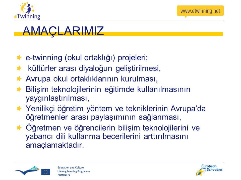 AMAÇLARIMIZ e-twinning (okul ortaklığı) projeleri; kültürler arası diyaloğun geliştirilmesi, Avrupa okul ortaklıklarının kurulması, Bilişim teknolojilerinin eğitimde kullanılmasının yaygınlaştırılması, Yenilikçi öğretim yöntem ve tekniklerinin Avrupa'da öğretmenler arası paylaşımının sağlanması, Öğretmen ve öğrencilerin bilişim teknolojilerini ve yabancı dili kullanma becerilerini arttırılmasını amaçlamaktadır.