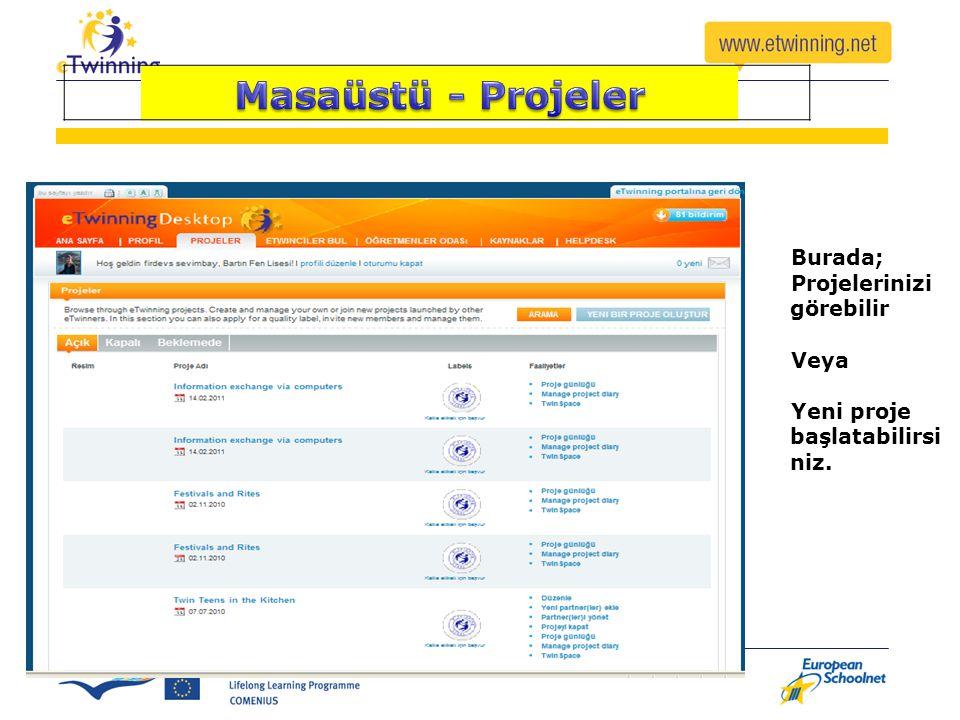 Burada; Projelerinizi görebilir Veya Yeni proje başlatabilirsi niz.