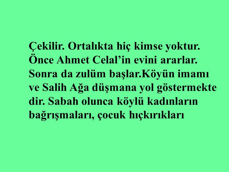 Biz size kötülük etmeye gelmiyoruz. Biz sizi Kemal'in çetelerinden kurtar mak için harb ediyoruz. Köylüler buna inanır. Ahmet Celal kandırıldıklarını