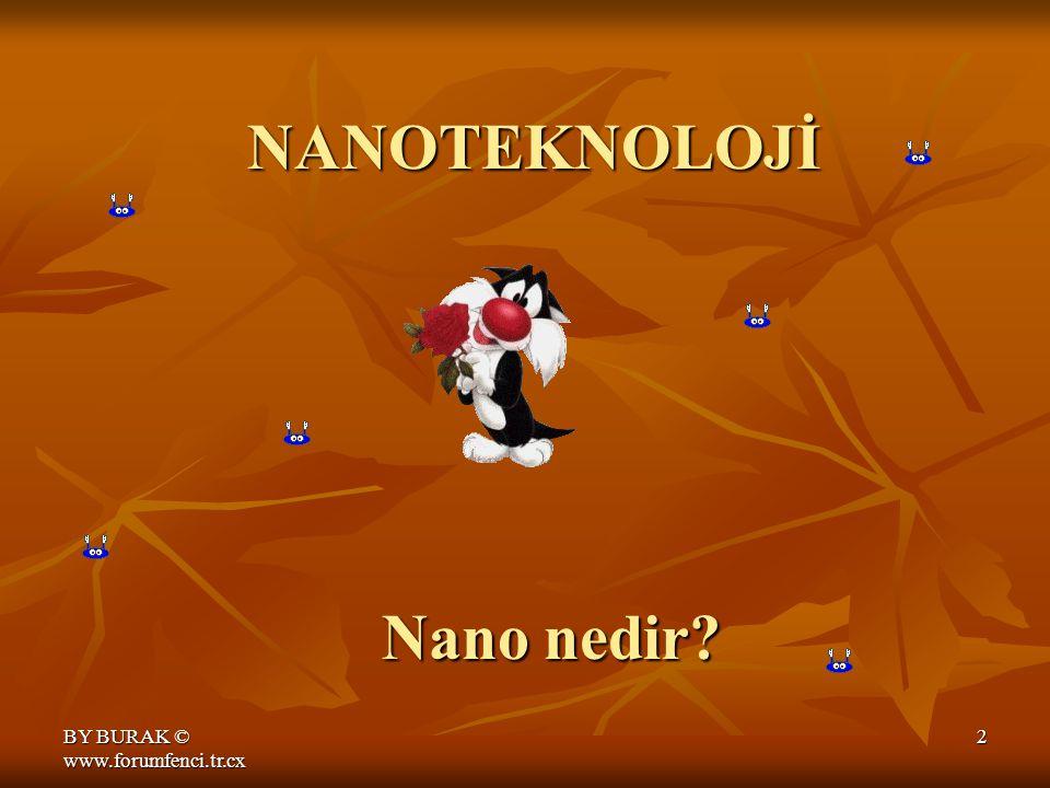 BY BURAK © www.forumfenci.tr.cx 2 NANOTEKNOLOJİ Nano nedir?