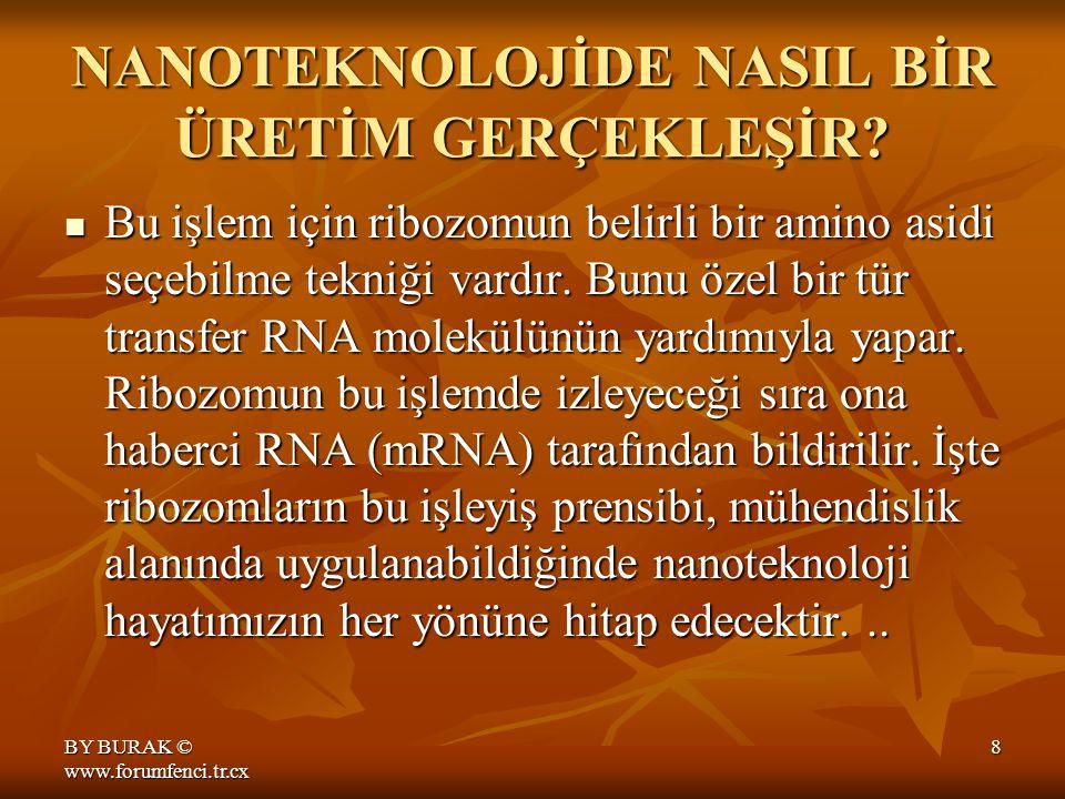 BY BURAK © www.forumfenci.tr.cx 7 NANOTEKNOLOJİDE NASIL BİR ÜRETİM GERÇEKLEŞİR?.