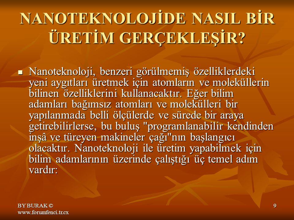 BY BURAK © www.forumfenci.tr.cx 9 NANOTEKNOLOJİDE NASIL BİR ÜRETİM GERÇEKLEŞİR.