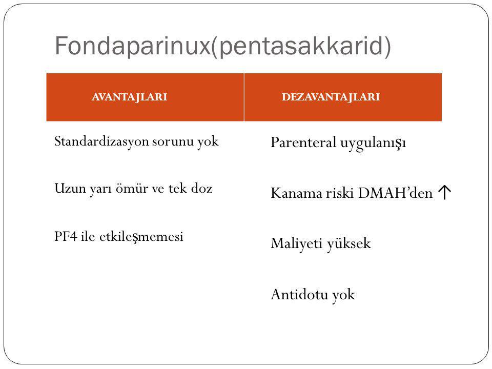 Fondaparinux(pentasakkarid) Standardizasyon sorunu yok Uzun yarı ömür ve tek doz PF4 ile etkile ş memesi Parenteral uygulanı ş ı Kanama riski DMAH'den