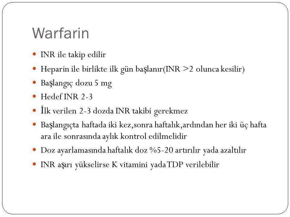 Warfarin INR ile takip edilir Heparin ile birlikte ilk gün ba ş lanır(INR >2 olunca kesilir) Ba ş langıç dozu 5 mg Hedef INR 2-3 İ lk verilen 2-3 dozd