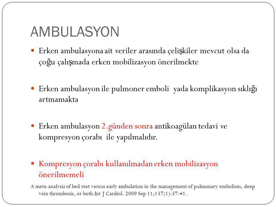 AMBULASYON Erken ambulasyona ait veriler arasında çeli ş kiler mevcut olsa da ço ğ u çalı ş mada erken mobilizasyon önerilmekte Erken ambulasyon ile p