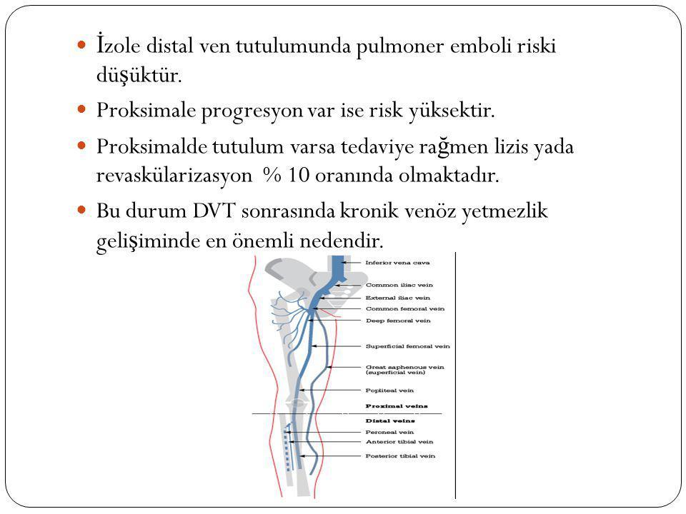 İ zole distal ven tutulumunda pulmoner emboli riski dü ş üktür. Proksimale progresyon var ise risk yüksektir. Proksimalde tutulum varsa tedaviye ra ğ