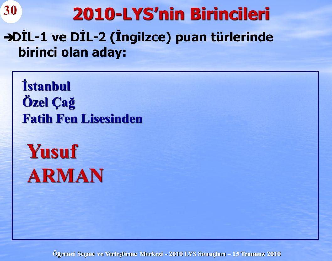 Öğrenci Seçme ve Yerleştirme Merkezi - 2010 LYS Sonuçları – 15 Temmuz 2010   DİL-1 ve DİL-2 (İngilzce) puan türlerinde birinci olan aday: 2010-LYS'n