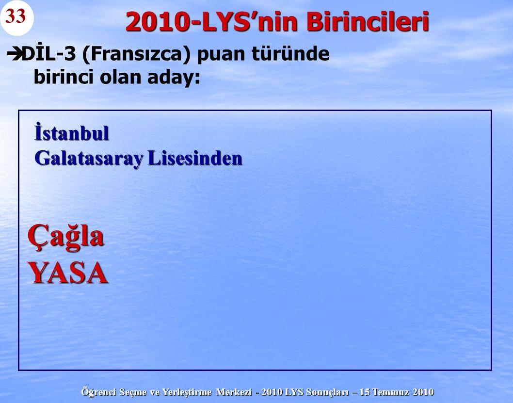 Öğrenci Seçme ve Yerleştirme Merkezi - 2010 LYS Sonuçları – 15 Temmuz 2010   DİL-3 (Fransızca) puan türünde birinci olan aday: 2010-LYS'nin Birincil
