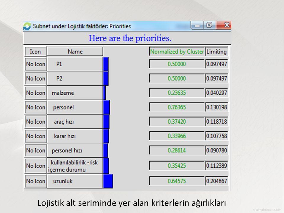 Lojistik alt seriminde yer alan kriterlerin ağırlıkları